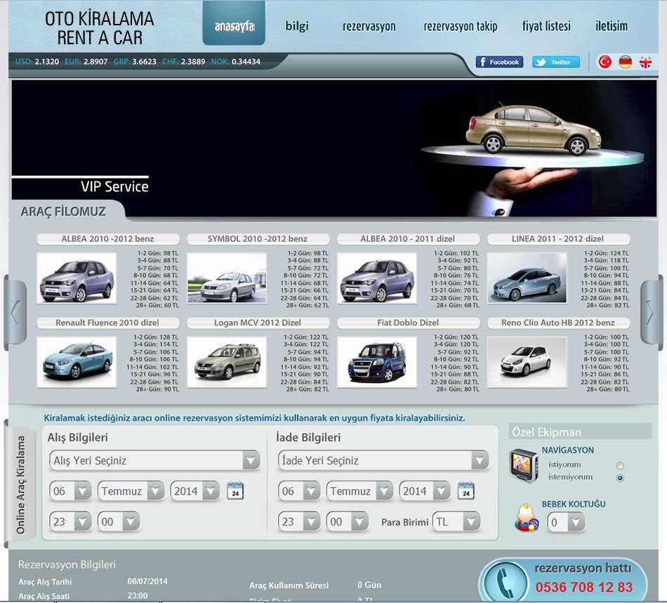 Rent a Car Oto Kiralama Web Sitesi Tasarımı ve Yazılımı